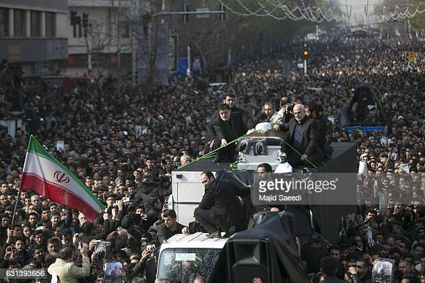 Mourners attend the funeral of former Iranian President Akbar Hashemi Rafsanjanii January 10 2017 in Tehran Iran Rafsanjani who was 82 was a pivotal...