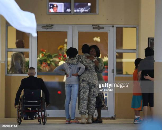 Mourners attend the viewing for US Army Sgt La David Johnson at the Christ the Rock Community Church on October 20 2017 in Cooper City Florida Sgt...