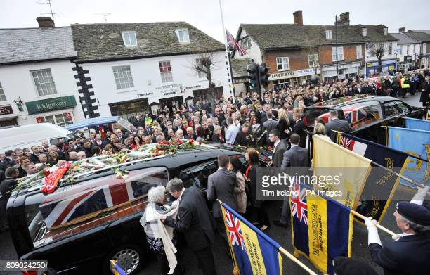 Mourners during the repatriation of Lance Sergeant Mark Burgan and Major Matthew James Collins both of 1st Battalion Irish Guards in Wootton Bassett