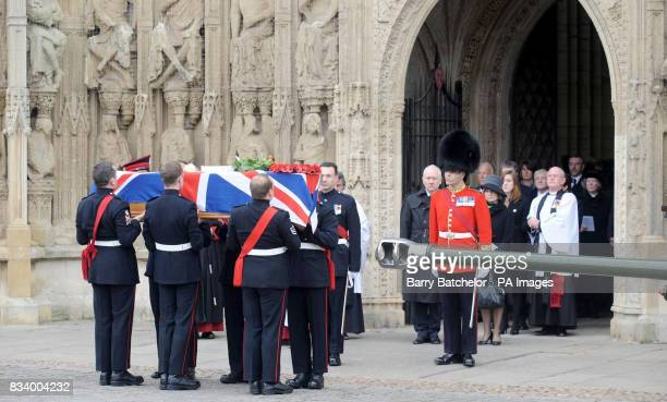 Mourners follow the coffin of Jack Sadler as it is carried from Exeter Cathedral Exeter