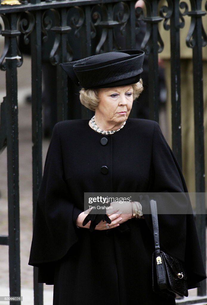 Mourners Gather At Westminster Abbey For The Funeral Of The Queen Mother Who Had Lived To The Age Of 101. Queen Beatrix Of The Netherlands.