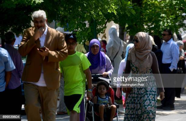 Mourners head to the funeral prayer service or Janazah for Nabra Hassanen at ADAMS Sterling June 21 2017 near Sterling VA She was killed by a...
