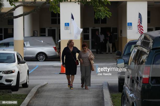 Mourners leave after attending the viewing for US Army Sgt La David Johnson at the Christ the Rock Community Church on October 20 2017 in Cooper City...