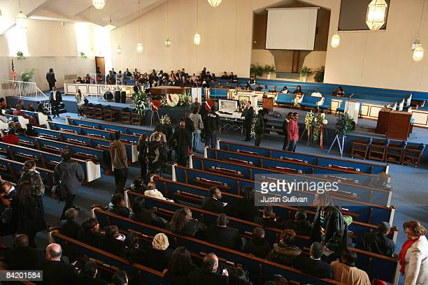 Mourners line up to view the body of twenty two yearold Oscar Grant III during a funeral service at Palma Ceia Baptist Church January 7 2009 in...