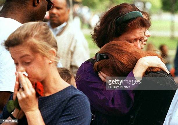 Mourners overcome with grief outside Kensington Palace London 1st September which had been the official residence of Diana the Princess of Wales...
