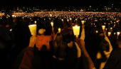 Mourners participate in a candlelight vigil on Virginia Tech's Day of Remembrance honoring the 32 people killed by Cho SeungHui April 16 2008 in...