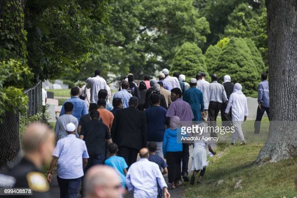 Mourners walk into Sterling Cemetery where Nabra Hassanen who was murdered Sunday on her way back to an overnight event at the All Dulles Area Muslim...