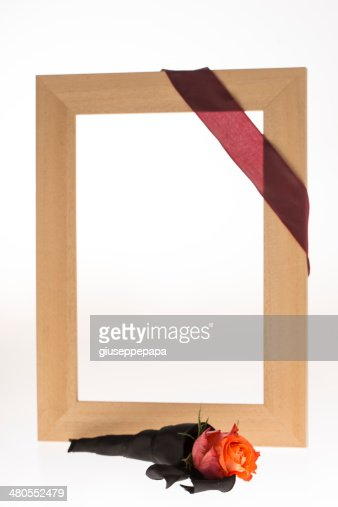 mourning frame with flower : Stock Photo