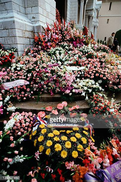 Mourning photography of Grace of Monaco exposed in a shop of articles for men during the funeral of the Princess on the left three ties posed on a...