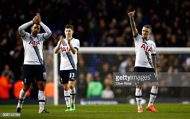 Mousa Dembele Ben Davies and Kieran Trippier of Tottenham Hotspur applaud supporters after their 10 win in the Barclays Premier League match between...