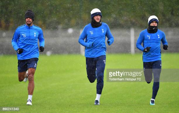 Mousa Dembele Eric Dier and Kieran Trippier of Tottenham Hotspur during a Tottenham Hotspur Training Session on December 11 2017 in Enfield England