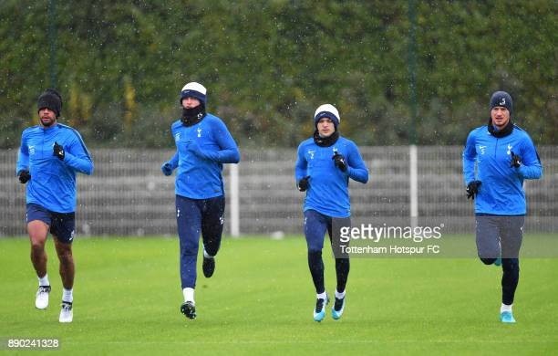 Mousa Dembele Eric Dier Kieran Trippier and Jan Vertonghen of Tottenham Hotspur during a Tottenham Hotspur Training Session on December 11 2017 in...