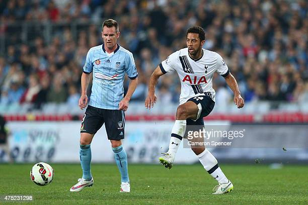 Mousa Dembele of Hotspurs kicks during the international friendly match between Sydney FC and Tottenham Spurs at ANZ Stadium on May 30 2015 in Sydney...