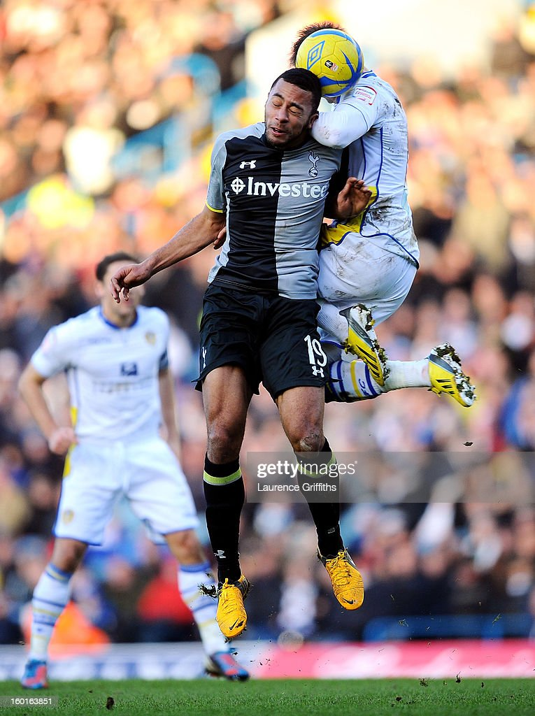 Mousa Dembele of Spurs and Luke Varney of Leeds compete for a header during the FA Cup with Budweiser Fourth Round match between Leeds United and Tottenham Hotspur at Elland Road on January 27, 2013 in Leeds, England.