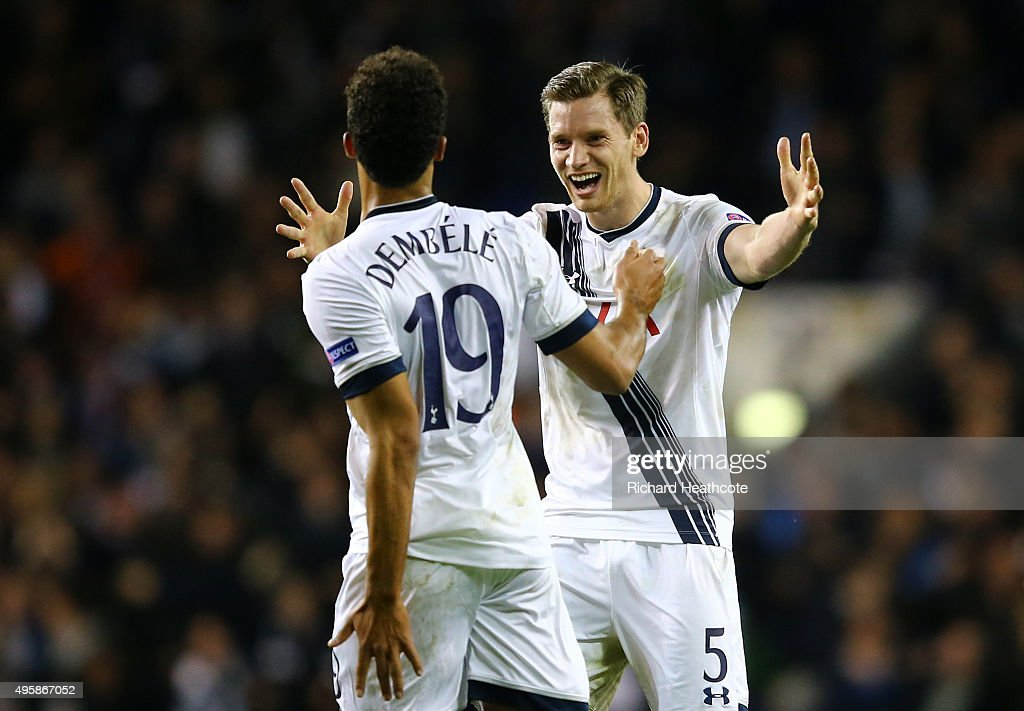Mousa Dembele #19 of Spurs celebrates with teammate <a gi-track='captionPersonalityLinkClicked' href=/galleries/search?phrase=Jan+Vertonghen&family=editorial&specificpeople=1360499 ng-click='$event.stopPropagation()'>Jan Vertonghen</a> of Spurs after scoring his team's second goal during the UEFA Europa League Group J match between Tottenham Hotspur FC and RSC Anderlecht at White Hart Lane on November 5, 2015 in London, United Kingdom.