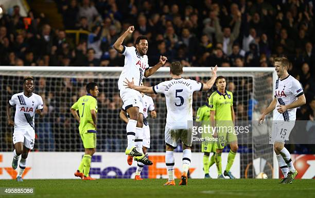 Mousa Dembele of Spurs celebrates with teammate Jan Vertonghen of Spurs after scoring his team's second goal during the UEFA Europa League Group J...
