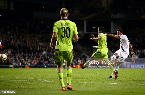 Mousa Dembele of Spurs scores his team's second goal during the UEFA Europa League Group J match between Tottenham Hotspur FC and RSC Anderlecht at...