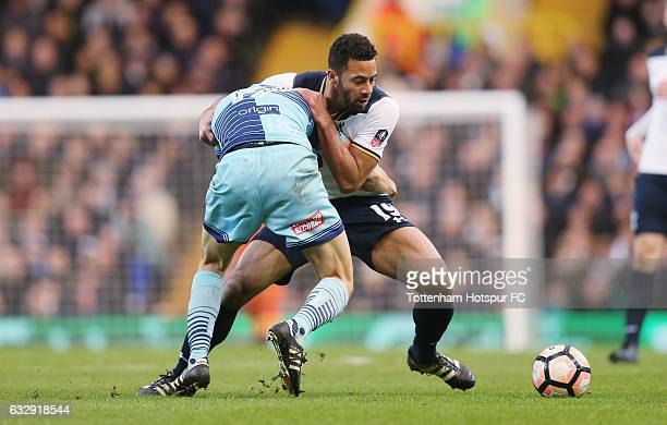 Mousa Dembele of Tottenham and Luke O'Nein of Wycombe during the Emirates FA Cup Fourth Round match between Tottenham Hotspur and Wycombe Wanderers...