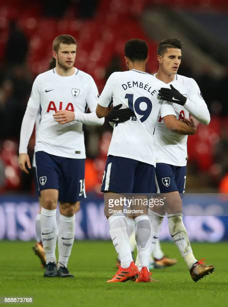 Mousa Dembele of Tottenham Hotspur and Erik Lamela of Tottenham Hotspur celebrate victory after the Premier League match between Tottenham Hotspur...