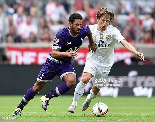 Mousa Dembele of Tottenham Hotspur and Luka Modric of Real Madrid battle for the ball during the Audi Cup 2015 match between Real Madrid and...