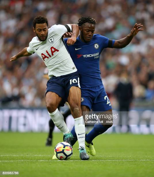 Mousa Dembele of Tottenham Hotspur and Michy Batshuayi of Chelsea during the Premier League match between Tottenham Hotspur and Chelsea at Wembley...