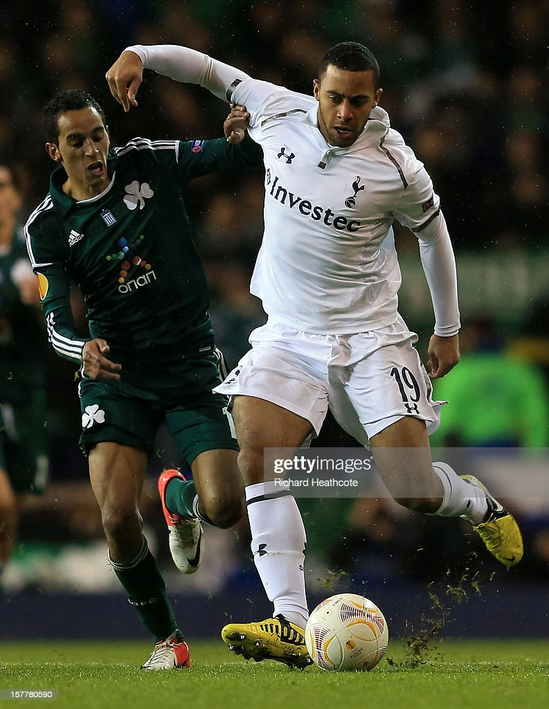 Mousa Dembele of Tottenham Hotspur and Zeca of Panathinaikos battle for the ball during the UEFA Europa League Group J match between Tottenham Hotspur and Panathinaikos at White Hart Lane on December 6, 2012 in London, England.