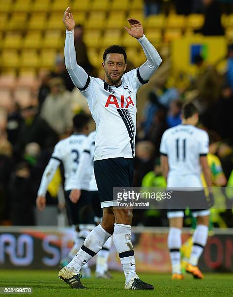 Mousa Dembele of Tottenham Hotspur applauds the fans after the final whistle during the Barclays Premier League match between Norwich City and...