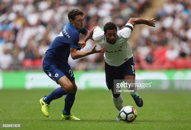 Mousa Dembele of Tottenham Hotspur attempts to get psat Andreas Christensen of Chelsea during the Premier League match between Tottenham Hotspur and...