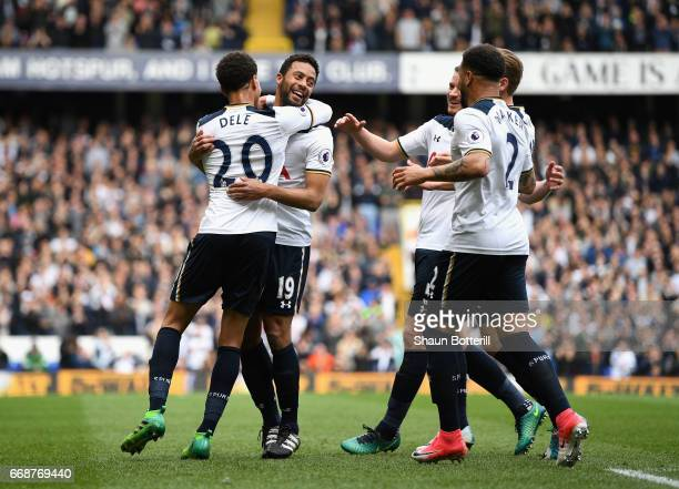 Mousa Dembele of Tottenham Hotspur celebrates scoring his sides first goal with his Tottenham Hotspur team mates during the Premier League match...