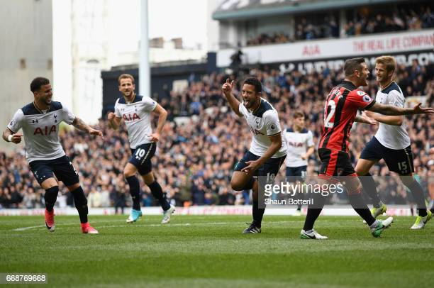 Mousa Dembele of Tottenham Hotspur celebrates scoring his sides first goal during the Premier League match between Tottenham Hotspur and AFC...