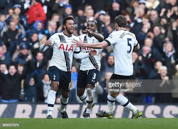 Mousa Dembele of Tottenham Hotspur celebrates scoring his team's second goal with his team mates Danny Rose and Jan Vertonghen of Tottenham Hotspur...