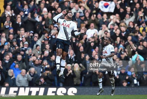 Mousa Dembele of Tottenham Hotspur celebrates scoring his team's second goal with his team mate Danny Rose during the Barclays Premier League match...