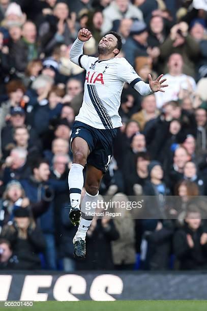 Mousa Dembele of Tottenham Hotspur celebrates scoring his team's second goal during the Barclays Premier League match between Tottenham Hotspur and...