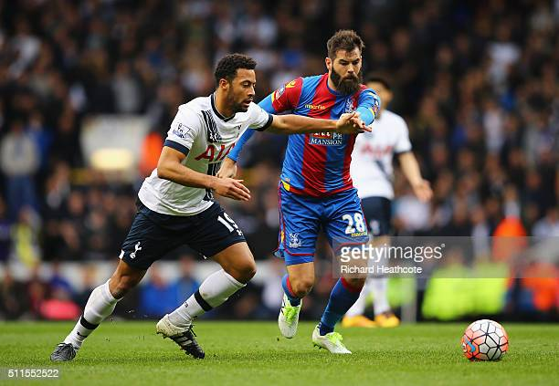 Mousa Dembele of Tottenham Hotspur is closed down by Joe Ledley of Crystal Palace during the Emirates FA Cup Fifth Round match between Tottenham...