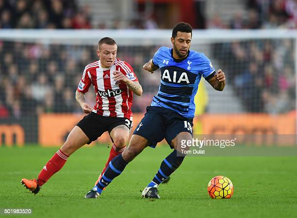 Mousa Dembele of Tottenham Hotspur is tracked by Jordy Clasie of Southampton during the Barclays Premier League match between Southampton and...