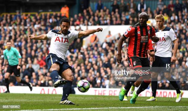 Mousa Dembele of Tottenham Hotspur scores his sides first goal during the Premier League match between Tottenham Hotspur and AFC Bournemouth at White...
