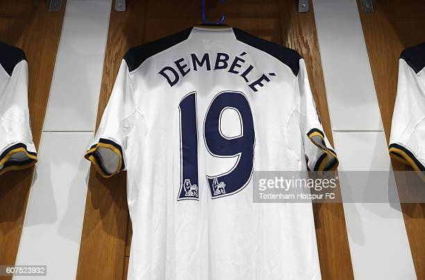 Mousa Dembele of Tottenham Hotspur shirt hangs in the dressing room during the Premier League match between Tottenham Hotspur and Sunderland at White...
