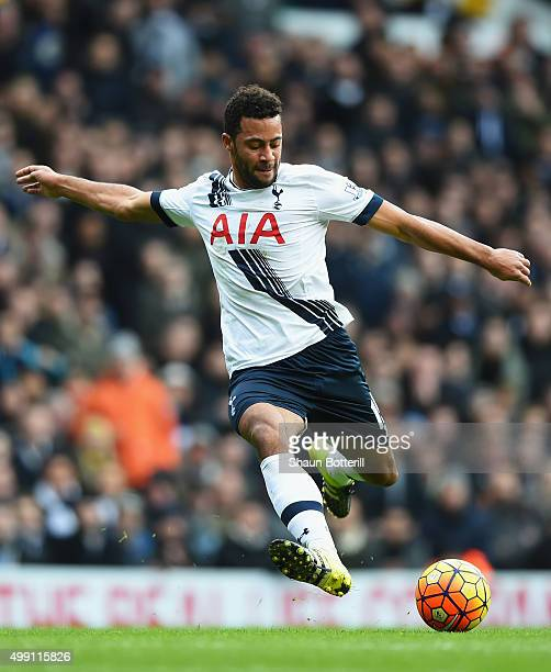 Mousa Dembele of Tottenham Hotspur shoots during the Barclays Premier League match between Tottenham Hotspur and Chelsea at White Hart Lane on...