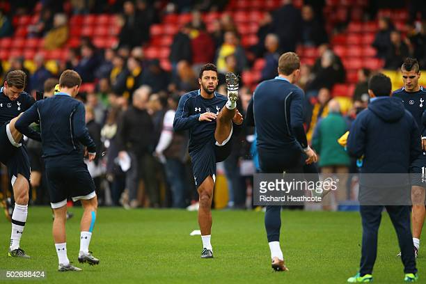 Mousa Dembele of Tottenham Hotspur warms up prior to the Barclays Premier League match between Watford and Tottenham Hotspur at Vicarage Road on...