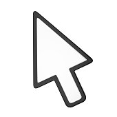 Mouse Cursor Arrow isolated on white background. 3D render