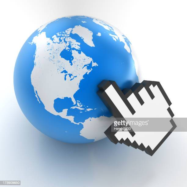 Mouse pointer pointing to earth globe - clipping path