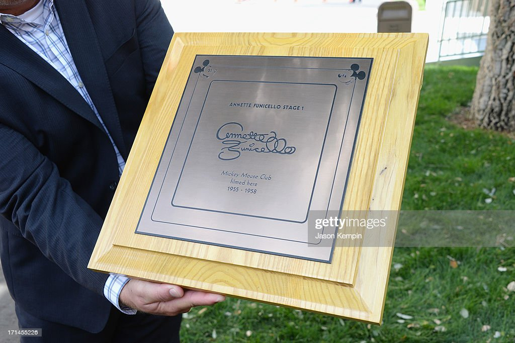 Mouseketeer Annette Funicello's rededication plaque is seen during a special stage rededication ceremony for Annette Funicello hosted by The Walt Disney Company at Walt Disney Studios on June 24, 2013 in Burbank, California.