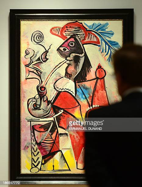 'Mousquetaire a la pipe' by artist Pablo Picasso is on display during a press preview of Sotheby's auction of impressionist and modern art at...