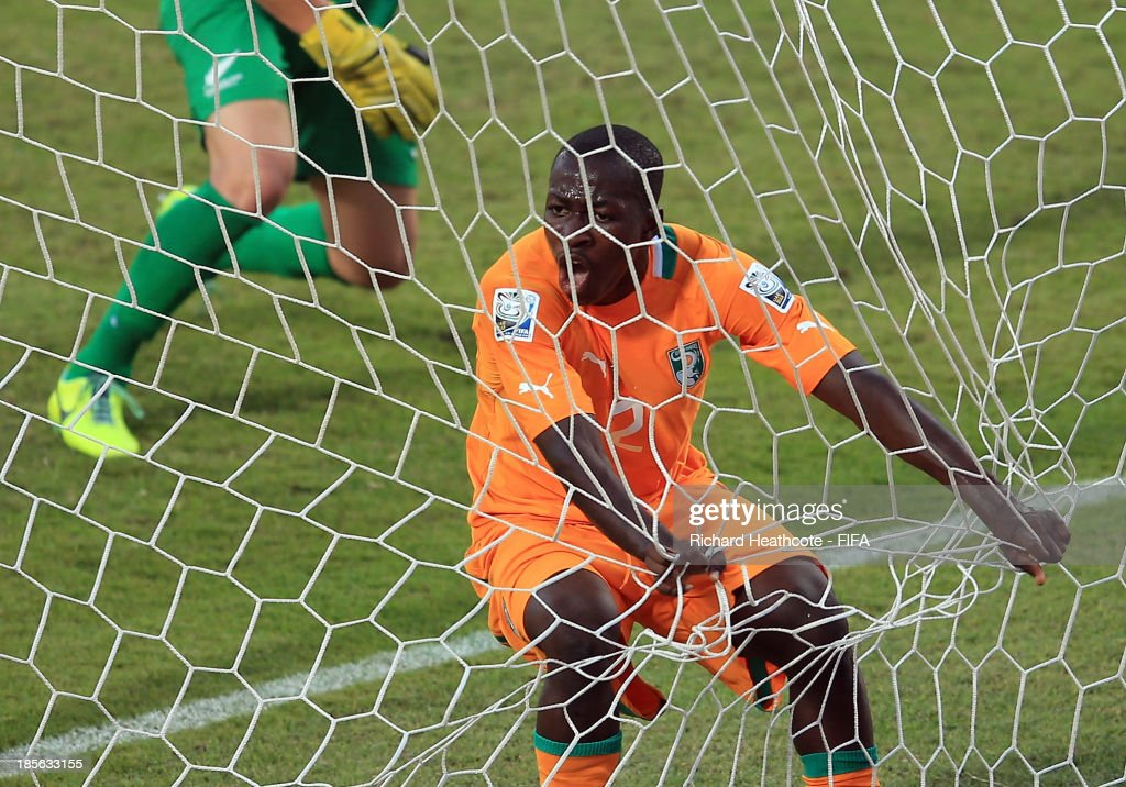 Moussa Bakayoko of Ivory Coast celebrates scoring the first goal during the FIFA U-17 World Cup UAE 2013 Group B match between New Zealand and Ivory Coast at the Mohamed Bin Zayed Stadium on October 23, 2013 in Abu Dhabi, United Arab Emirates.