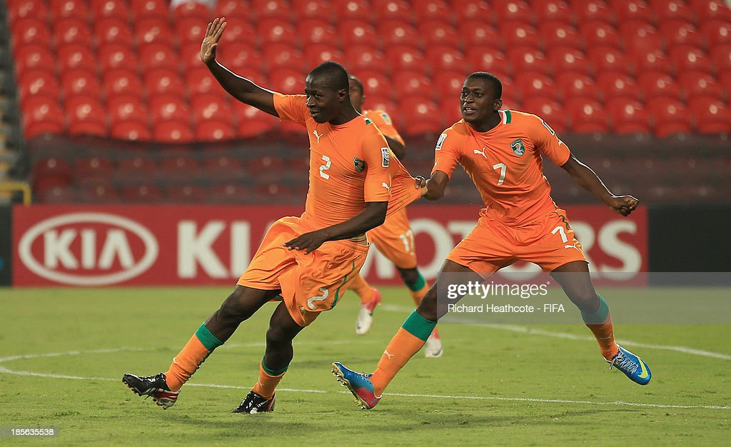 Moussa Bakayoko of Ivory Coast celebrates scoring the second goal during the FIFA U-17 World Cup UAE 2013 Group B match between New Zealand and Ivory Coast at the Mohamed Bin Zayed Stadium on October 23, 2013 in Abu Dhabi, United Arab Emirates.