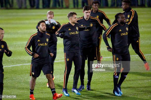 Moussa Dembele midfielder of Belgium and Adnan Januzaj picture during the training session of the Red Devils at the national training center on...