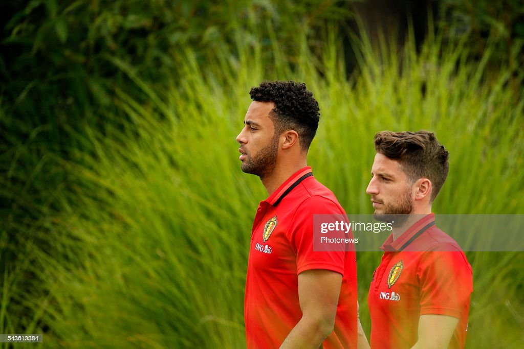 Moussa Dembele midfielder of Belgium and Mertens Dries forward of Belgium before a closed training session of the National Soccer Team of Belgium as part of the preparation prior to the UEFA EURO 2016 quarter final match between Wales and Belgium at the Chateau de Haillan training center on June 29, 2016 in Bordeaux, France ,