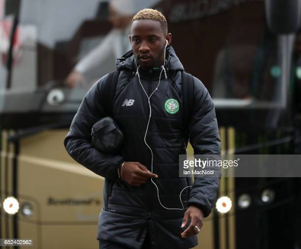 Moussa Dembele of Celtic arrives at the stadium prior to the Ladbrokes Scottish Premiership match between Celtic and Rangers at Celtic Park on March...