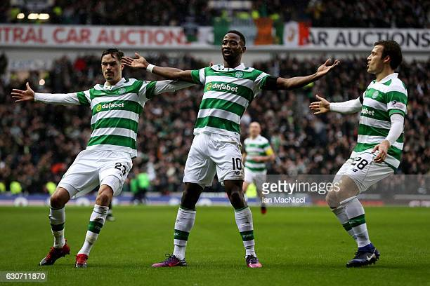 Moussa Dembele of Celtic celebrates after he scores during the Rangers v Celtic Ladbrokes Scottish Premiership match at Ibrox Stadium on December 31...