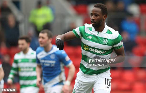 Moussa Dembele of Celtic celebrates after he scores from the penalty spot during the Ladbrokes Scottish Premiership match between St Johnstone and...